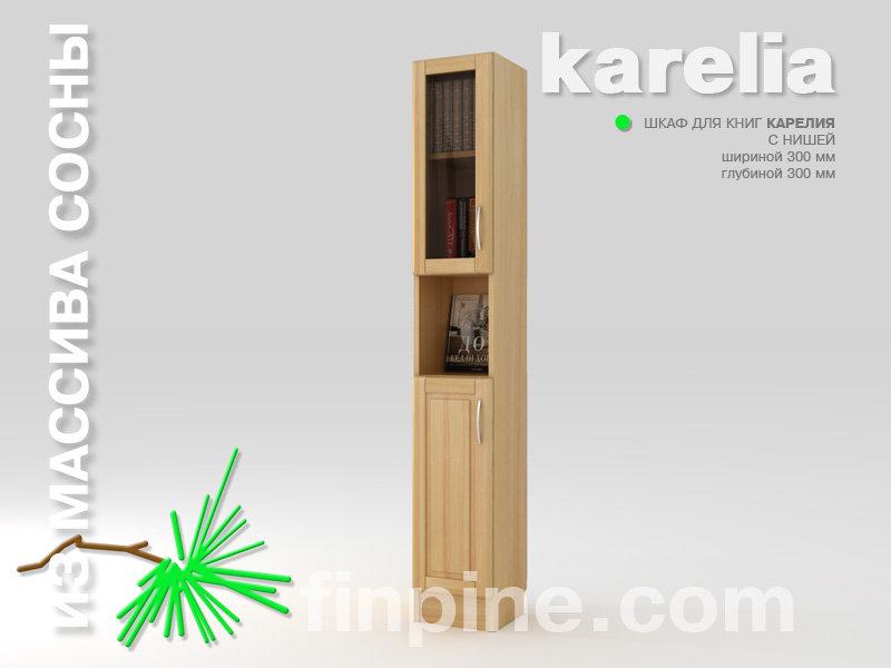 Книжный шкаф для дома karelia-300 с нишей и со стеклянными д.