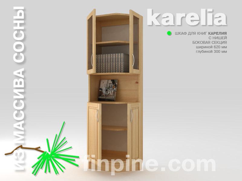Книжный шкаф боковой для дома karelia-620 с нишей и со стекл.